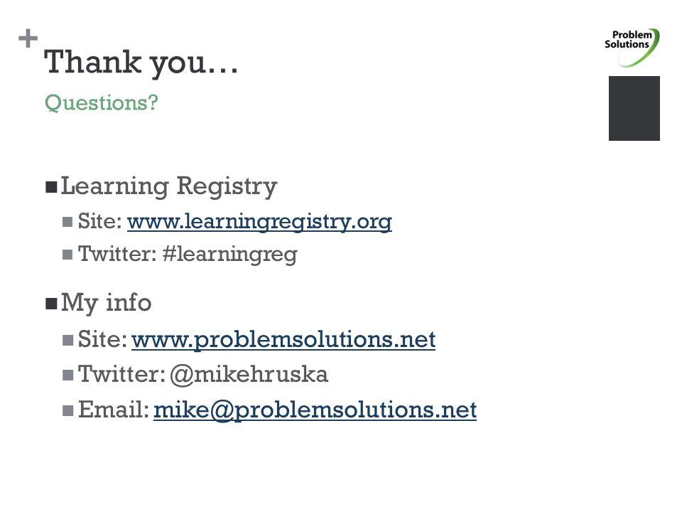 + Thank you… Learning Registry Site: www.learningregistry.orgwww.learningregistry.org Twitter: #learningreg My info Site: www.problemsolutions.netwww.problemsolutions.net Twitter: @mikehruska Email: mike@problemsolutions.netmike@problemsolutions.net Questions