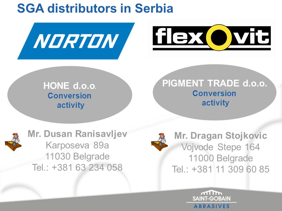 SGA distributors in Serbia HONE d.o.o. Conversion activity PIGMENT TRADE d.o.o.