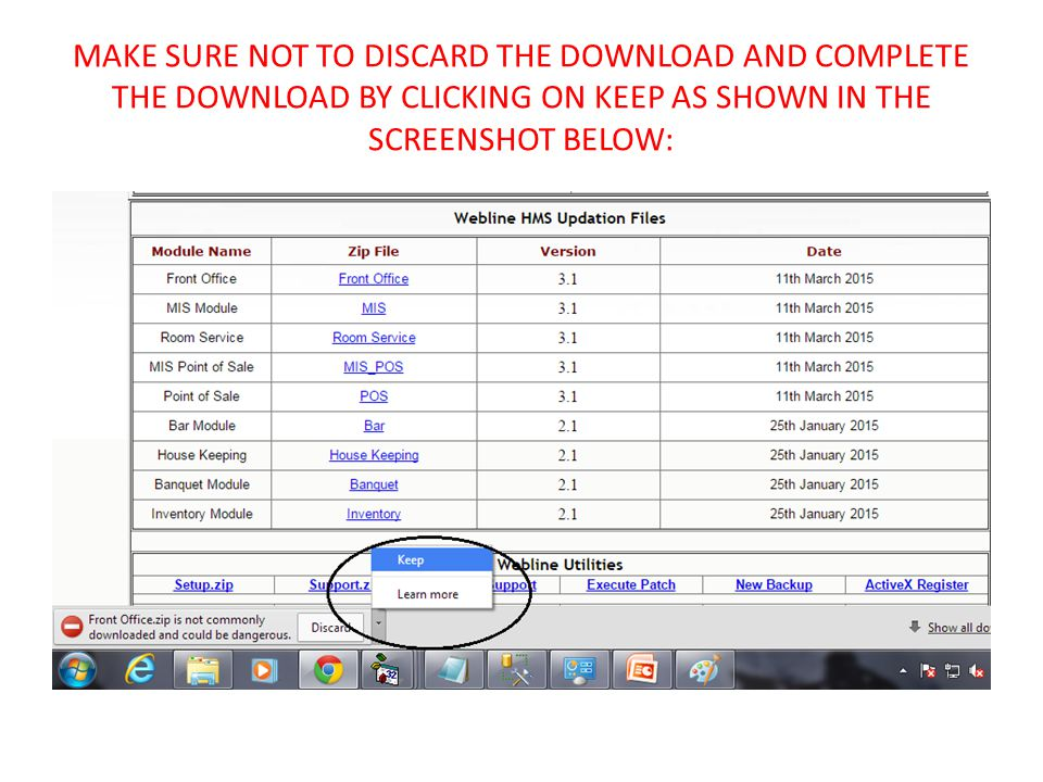 MAKE SURE NOT TO DISCARD THE DOWNLOAD AND COMPLETE THE DOWNLOAD BY CLICKING ON KEEP AS SHOWN IN THE SCREENSHOT BELOW: