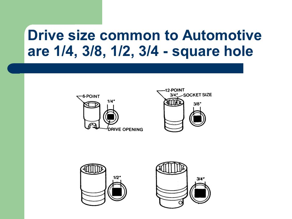 Socket Wrench Sockets come in many sizes with different openings. 6 pt. & 12 pt. are the most common. They are used to remove and install nuts and bol