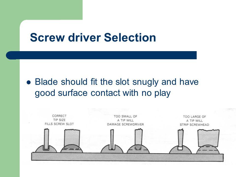 Screw drivers A. Slotted B. Pozi-Drive Phillips C. Phillips D. Torx E. Allen / Hex