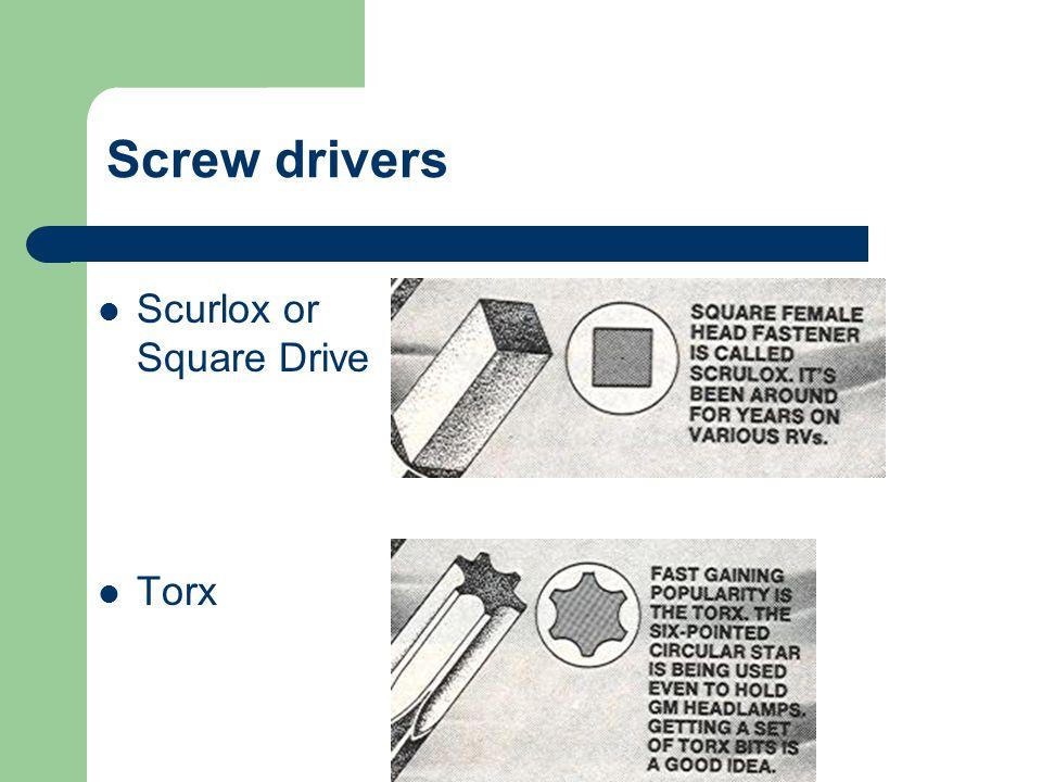 Pozi-drive Allen or Hex tip Screw drivers