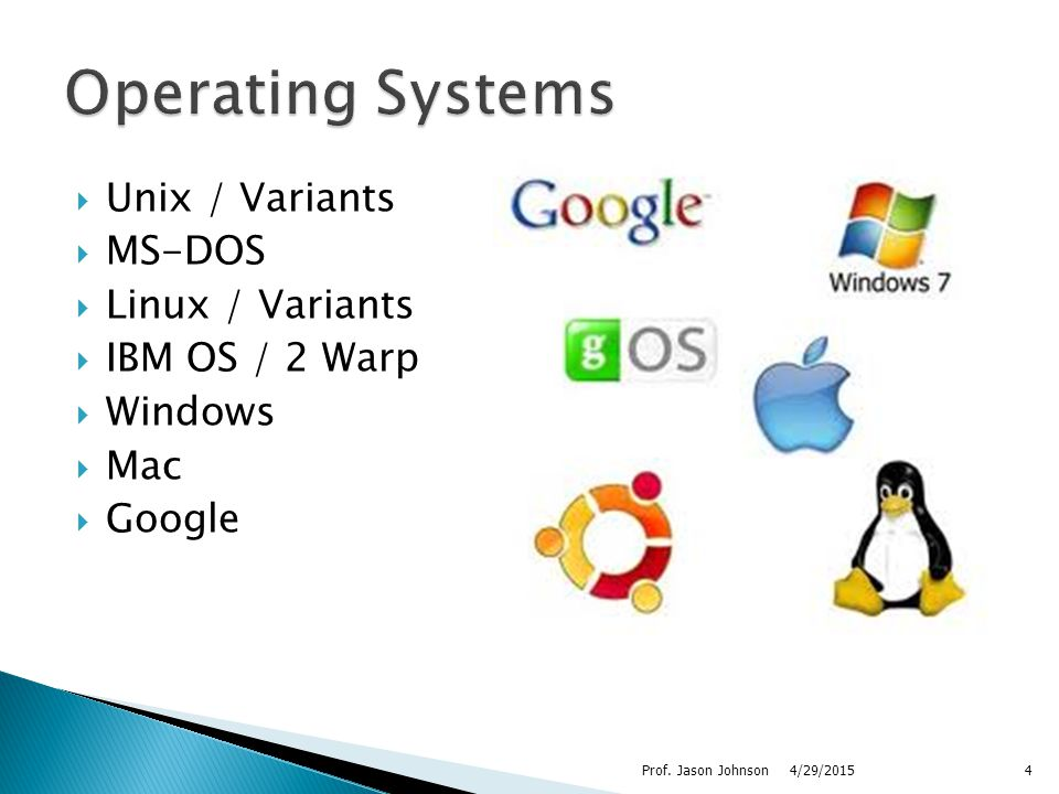  Unix / Variants  MS-DOS  Linux / Variants  IBM OS / 2 Warp  Windows  Mac  Google 4/29/2015Prof.