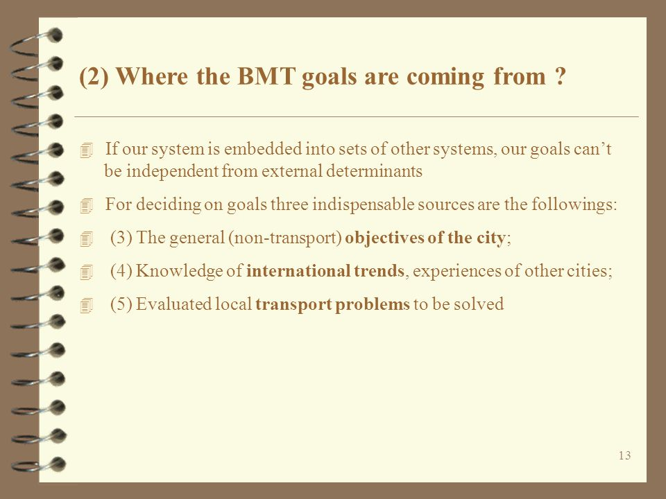 (2) Where the BMT goals are coming from .