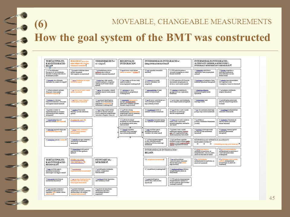 45 (6) MOVEABLE, CHANGEABLE MEASUREMENTS How the goal system of the BMT was constructed