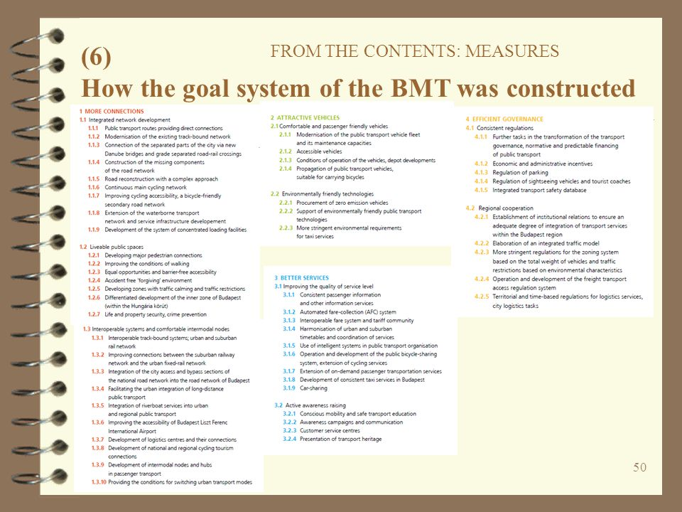 50 (6) FROM THE CONTENTS: MEASURES How the goal system of the BMT was constructed