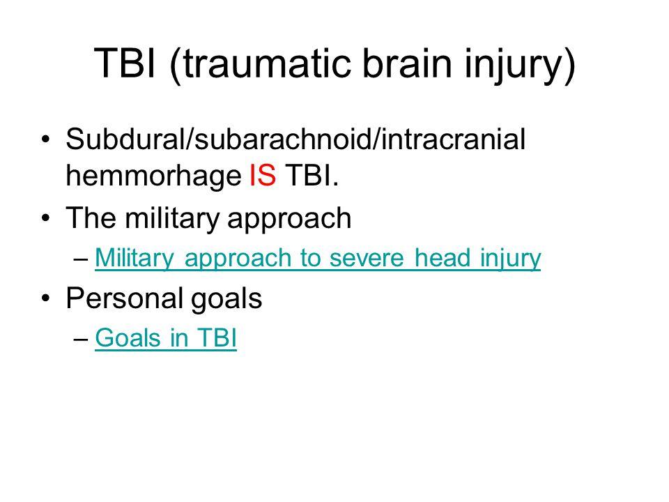 TBI (traumatic brain injury) Subdural/subarachnoid/intracranial hemmorhage IS TBI.