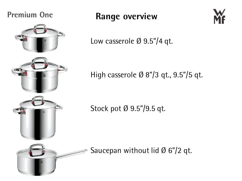 Range overview Low casserole Ø 9.5 /4 qt. High casserole Ø 8 /3 qt., 9.5 /5 qt.