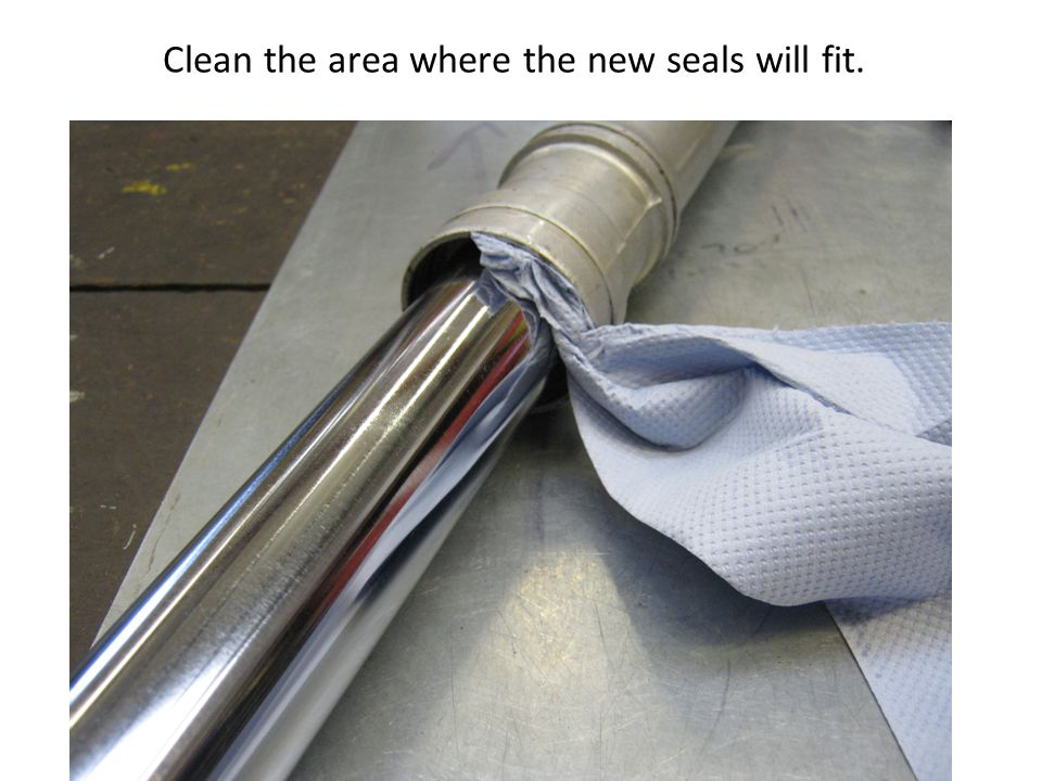 Clean the area where the new seals will fit.