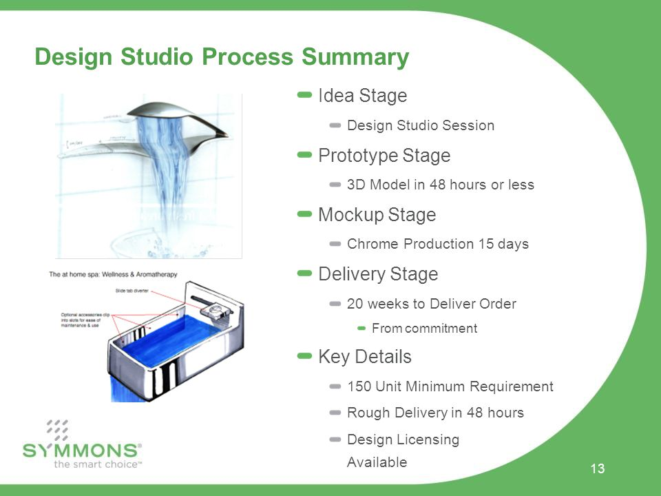Design Studio Process Summary Idea Stage Design Studio Session Prototype Stage 3D Model in 48 hours or less Mockup Stage Chrome Production 15 days Delivery Stage 20 weeks to Deliver Order From commitment Key Details 150 Unit Minimum Requirement Rough Delivery in 48 hours Design Licensing Available 13