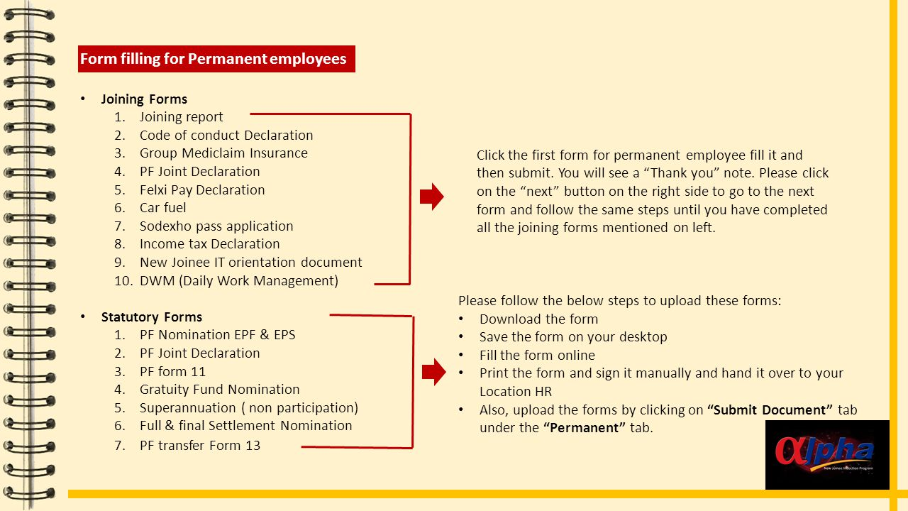 Form Filling instructions for Direct contract employee There are 3 forms for Direct contract employees.