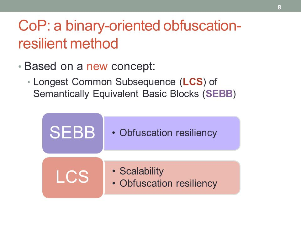 CoP: a binary-oriented obfuscation- resilient method Based on a new concept: Longest Common Subsequence (LCS) of Semantically Equivalent Basic Blocks (SEBB) 8 Obfuscation resiliency SEBB Scalability Obfuscation resiliency LCS