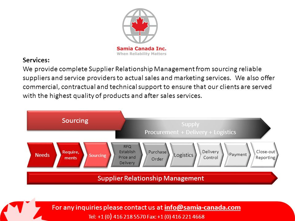 Services: We provide complete Supplier Relationship Management from sourcing reliable suppliers and service providers to actual sales and marketing services.