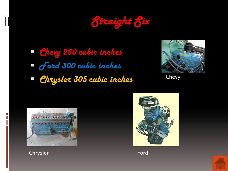 Straight Six  Chevy 250 cubic inches  Ford 300 cubic inches  Chrysler 305 cubic inches Chevy ChryslerFord