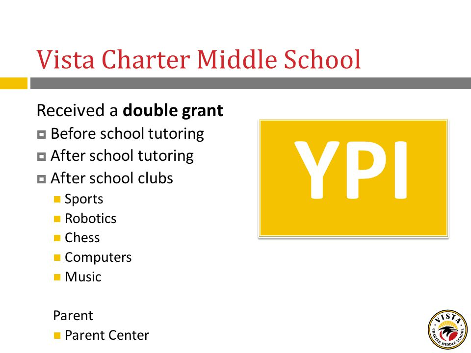 Vista Charter Middle School YPI Received a double grant  Before school tutoring  After school tutoring  After school clubs Sports Robotics Chess Computers Music Parent Parent Center
