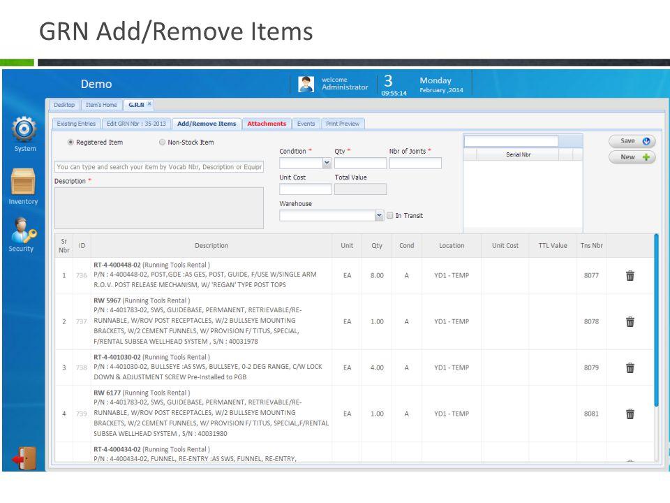 GRN Add/Remove Items