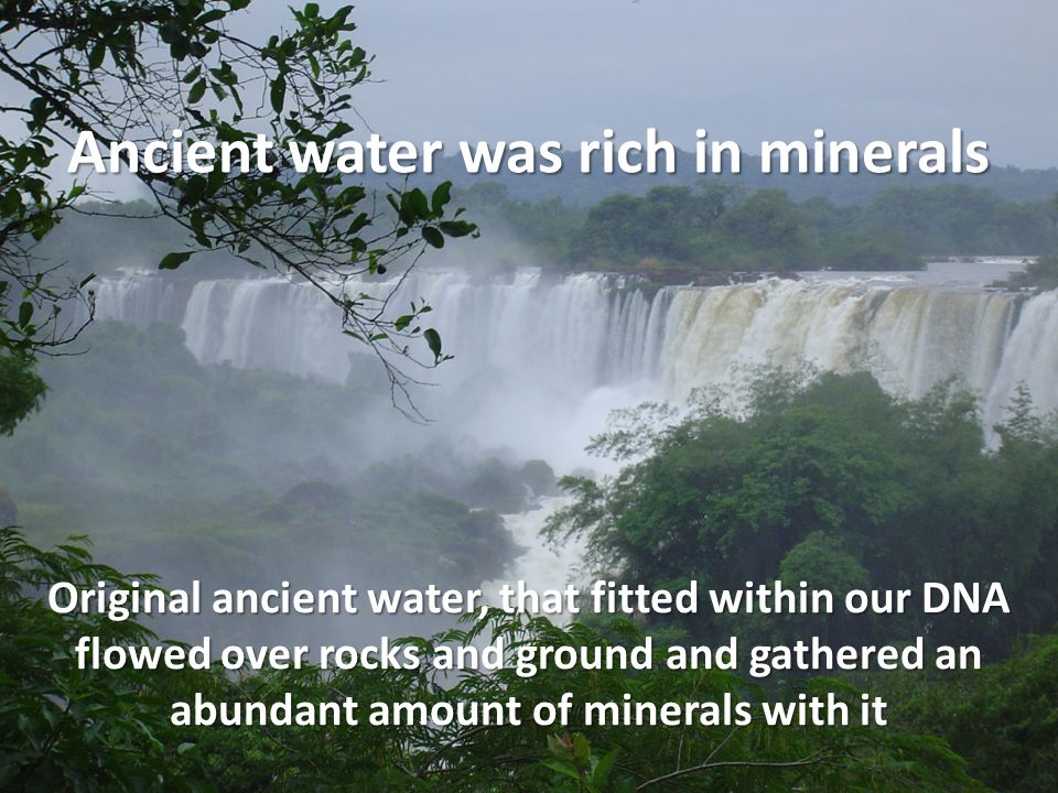 Original ancient water, that fitted within our DNA flowed over rocks and ground and gathered an abundant amount of minerals with it Ancient water was