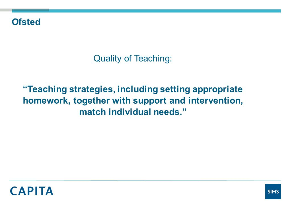 Ofsted Quality of Teaching: Teaching strategies, including setting appropriate homework, together with support and intervention, match individual needs.