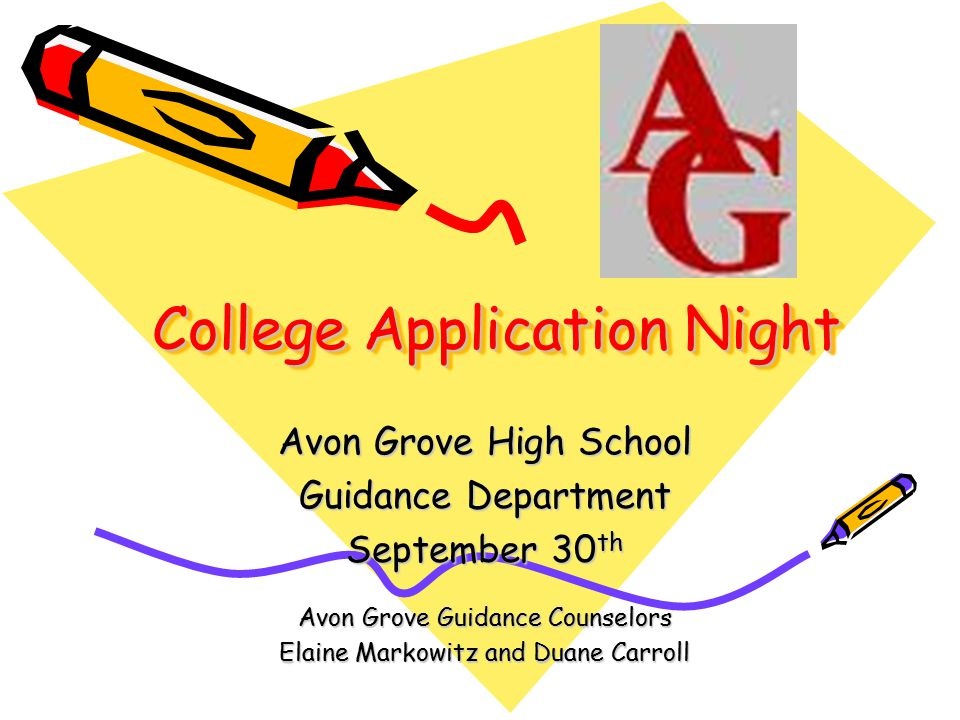 College Application Night Avon Grove High School Guidance Department September 30 th Avon Grove Guidance Counselors Elaine Markowitz and Duane Carroll