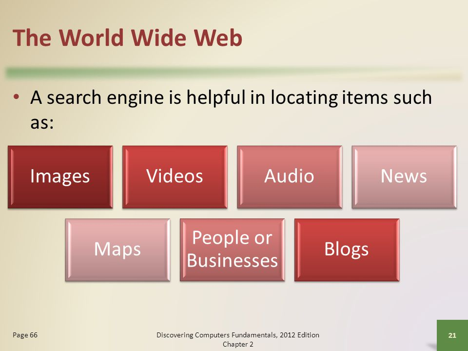 The World Wide Web A search engine is helpful in locating items such as: Discovering Computers Fundamentals, 2012 Edition Chapter 2 21 Page 66 ImagesVideosAudioNews Maps People or Businesses Blogs