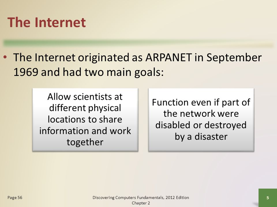 The Internet The Internet originated as ARPANET in September 1969 and had two main goals: Discovering Computers Fundamentals, 2012 Edition Chapter 2 5 Page 56 Allow scientists at different physical locations to share information and work together Function even if part of the network were disabled or destroyed by a disaster