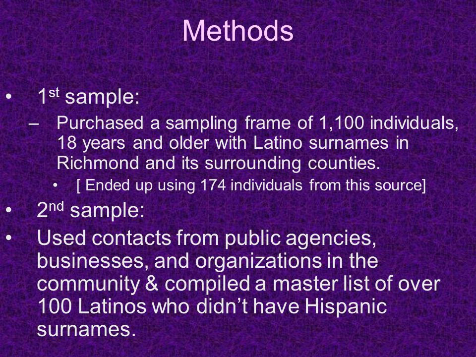 Methods 1 st sample: –Purchased a sampling frame of 1,100 individuals, 18 years and older with Latino surnames in Richmond and its surrounding counties.