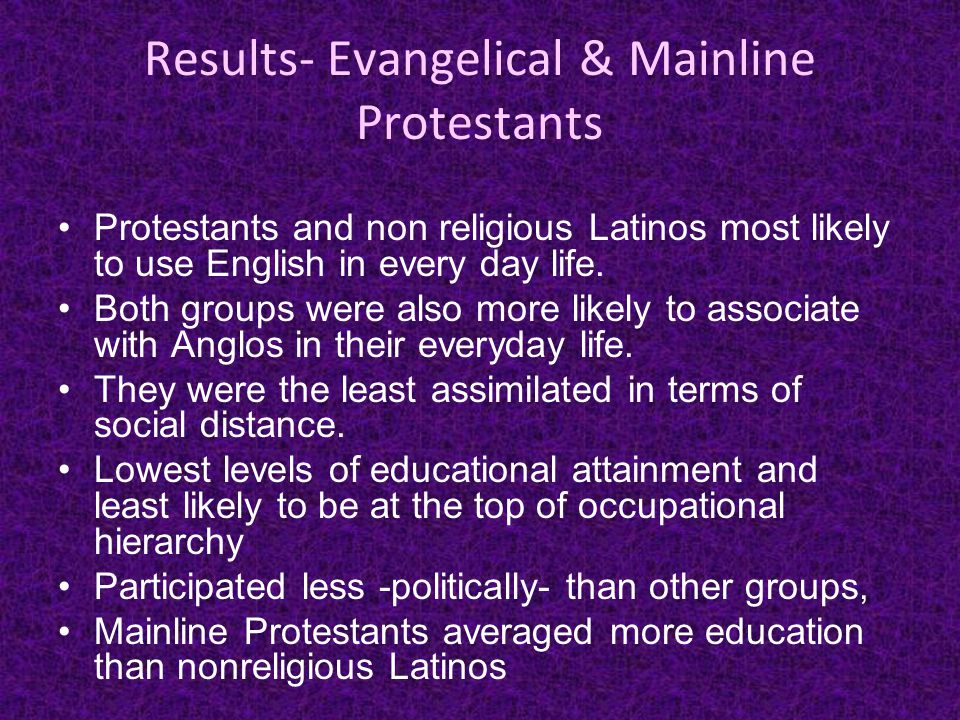 Results- Evangelical & Mainline Protestants Protestants and non religious Latinos most likely to use English in every day life.