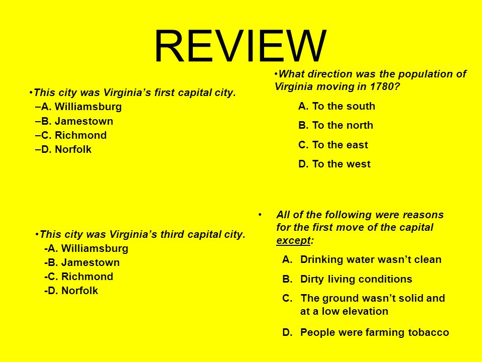REVIEW This city was Virginia's first capital city.