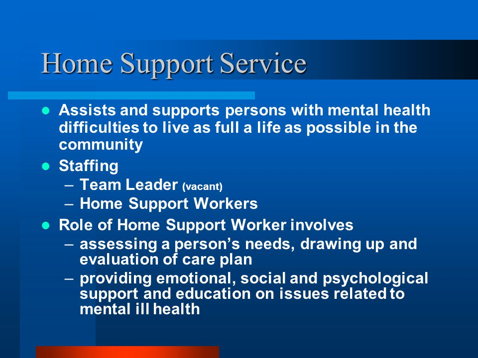 Home Support Service Assists and supports persons with mental health difficulties to live as full a life as possible in the community Staffing –Team Leader (vacant) –Home Support Workers Role of Home Support Worker involves –assessing a person's needs, drawing up and evaluation of care plan –providing emotional, social and psychological support and education on issues related to mental ill health