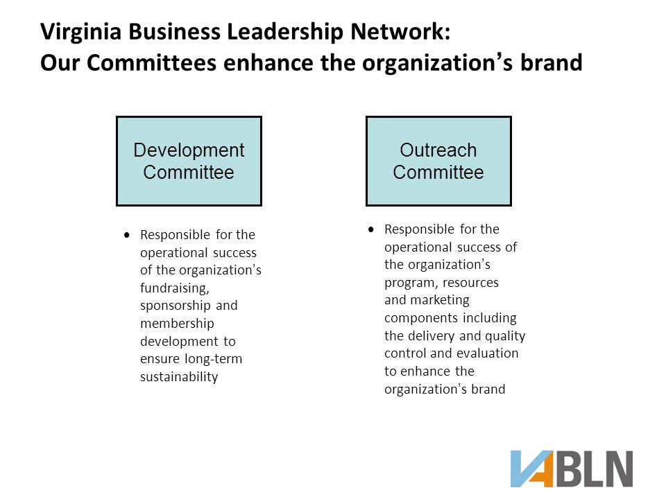 Virginia Business Leadership Network: Our Committees enhance the organization's brand Development Committee Outreach Committee  Responsible for the operational success of the organization's fundraising, sponsorship and membership development to ensure long-term sustainability  Responsible for the operational success of the organization's program, resources and marketing components including the delivery and quality control and evaluation to enhance the organization's brand
