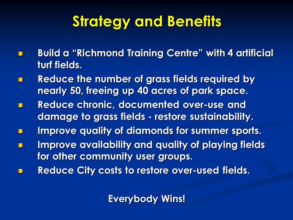 "Strategy and Benefits Build a ""Richmond Training Centre"" with 4 artificial turf fields. Build a ""Richmond Training Centre"" with 4 artificial turf fiel"