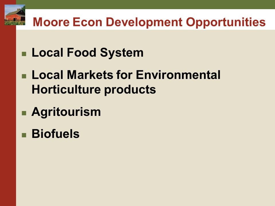 Moore Econ Development Opportunities Local Food System Local Markets for Environmental Horticulture products Agritourism Biofuels