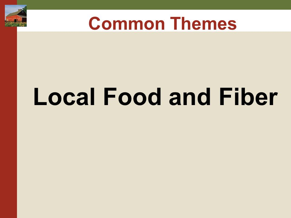 Common Themes Local Food and Fiber