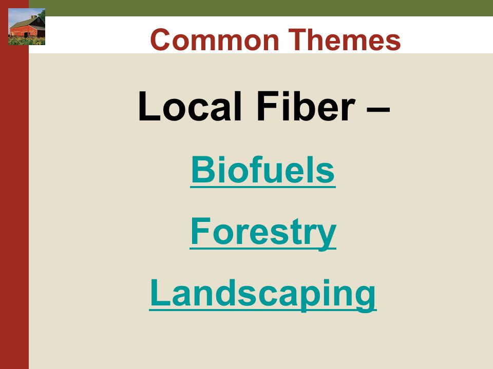Common Themes Local Fiber – Biofuels Forestry Landscaping
