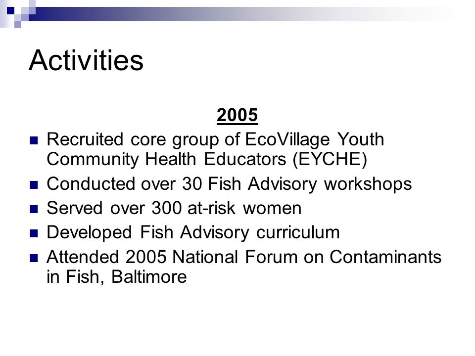 Activities 2005 Recruited core group of EcoVillage Youth Community Health Educators (EYCHE) Conducted over 30 Fish Advisory workshops Served over 300 at-risk women Developed Fish Advisory curriculum Attended 2005 National Forum on Contaminants in Fish, Baltimore