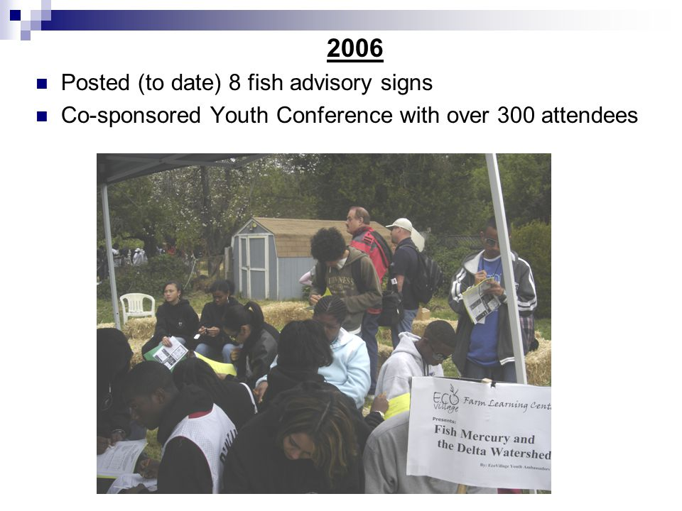2006 Posted (to date) 8 fish advisory signs Co-sponsored Youth Conference with over 300 attendees