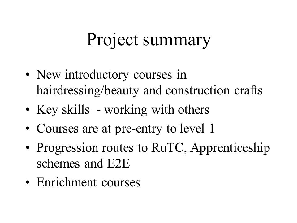 Project summary New introductory courses in hairdressing/beauty and construction crafts Key skills - working with others Courses are at pre-entry to level 1 Progression routes to RuTC, Apprenticeship schemes and E2E Enrichment courses