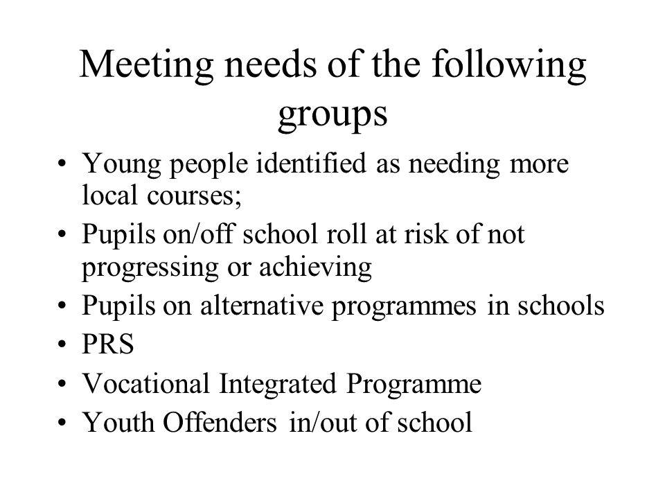 Meeting needs of the following groups Young people identified as needing more local courses; Pupils on/off school roll at risk of not progressing or achieving Pupils on alternative programmes in schools PRS Vocational Integrated Programme Youth Offenders in/out of school