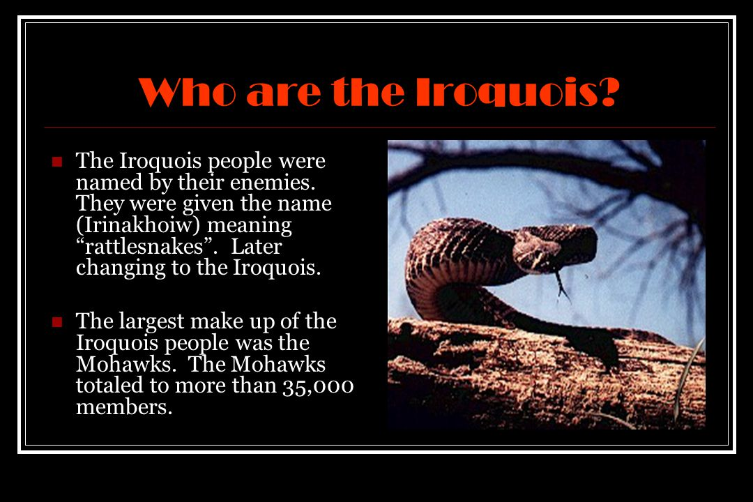 Who are the Iroquois. The Iroquois people were named by their enemies.