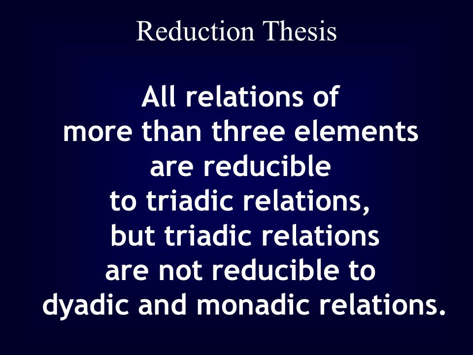 Reduction Thesis All relations of more than three elements are reducible to triadic relations, but triadic relations are not reducible to dyadic and monadic relations.