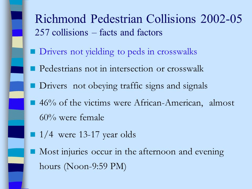 Richmond Pedestrian Collisions 2002-05 257 collisions – facts and factors Drivers not yielding to peds in crosswalks Pedestrians not in intersection or crosswalk Drivers not obeying traffic signs and signals 46% of the victims were African-American, almost 60% were female 1/4 were 13-17 year olds Most injuries occur in the afternoon and evening hours (Noon-9:59 PM)