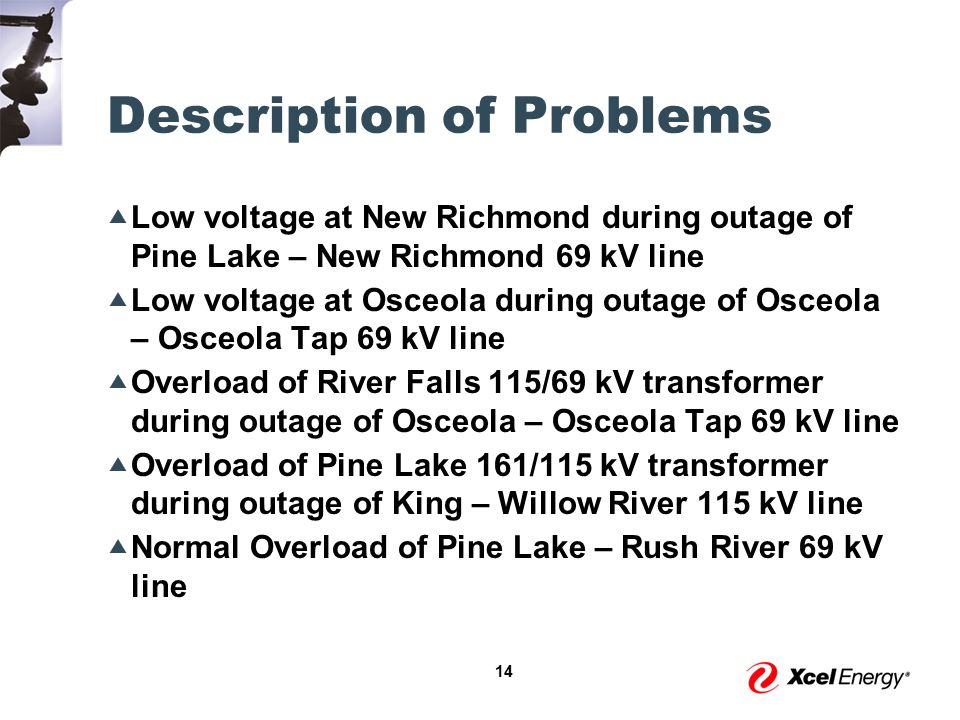 14 Description of Problems  Low voltage at New Richmond during outage of Pine Lake – New Richmond 69 kV line  Low voltage at Osceola during outage of Osceola – Osceola Tap 69 kV line  Overload of River Falls 115/69 kV transformer during outage of Osceola – Osceola Tap 69 kV line  Overload of Pine Lake 161/115 kV transformer during outage of King – Willow River 115 kV line  Normal Overload of Pine Lake – Rush River 69 kV line