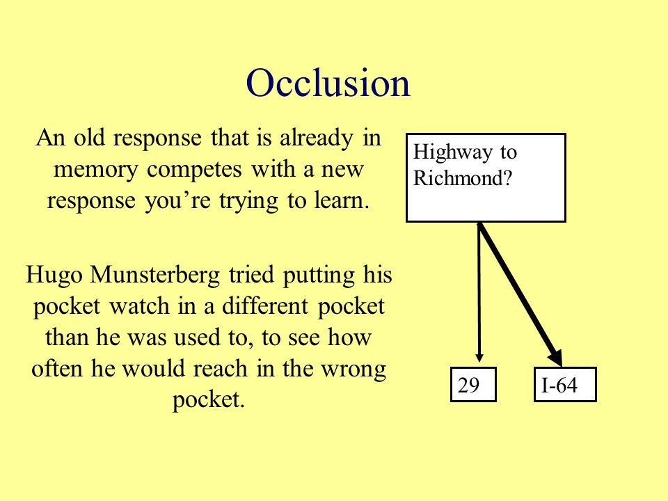 Occlusion An old response that is already in memory competes with a new response you're trying to learn.