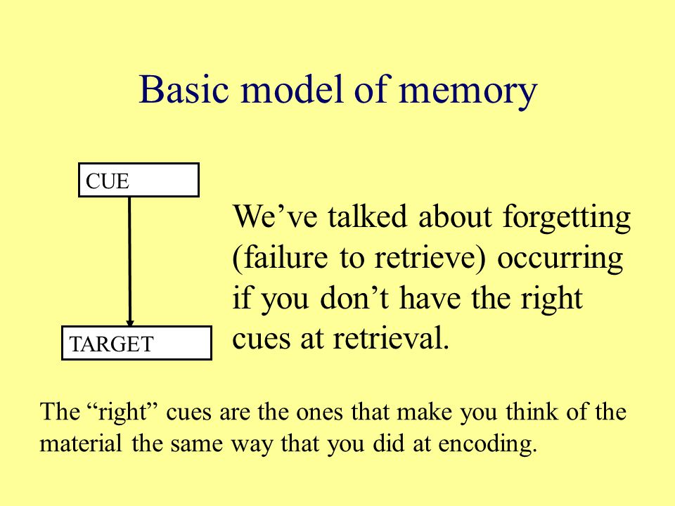 Basic model of memory CUE TARGET We've talked about forgetting (failure to retrieve) occurring if you don't have the right cues at retrieval.