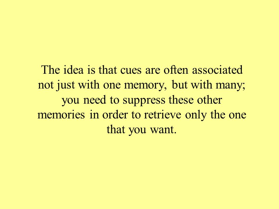 The idea is that cues are often associated not just with one memory, but with many; you need to suppress these other memories in order to retrieve only the one that you want.