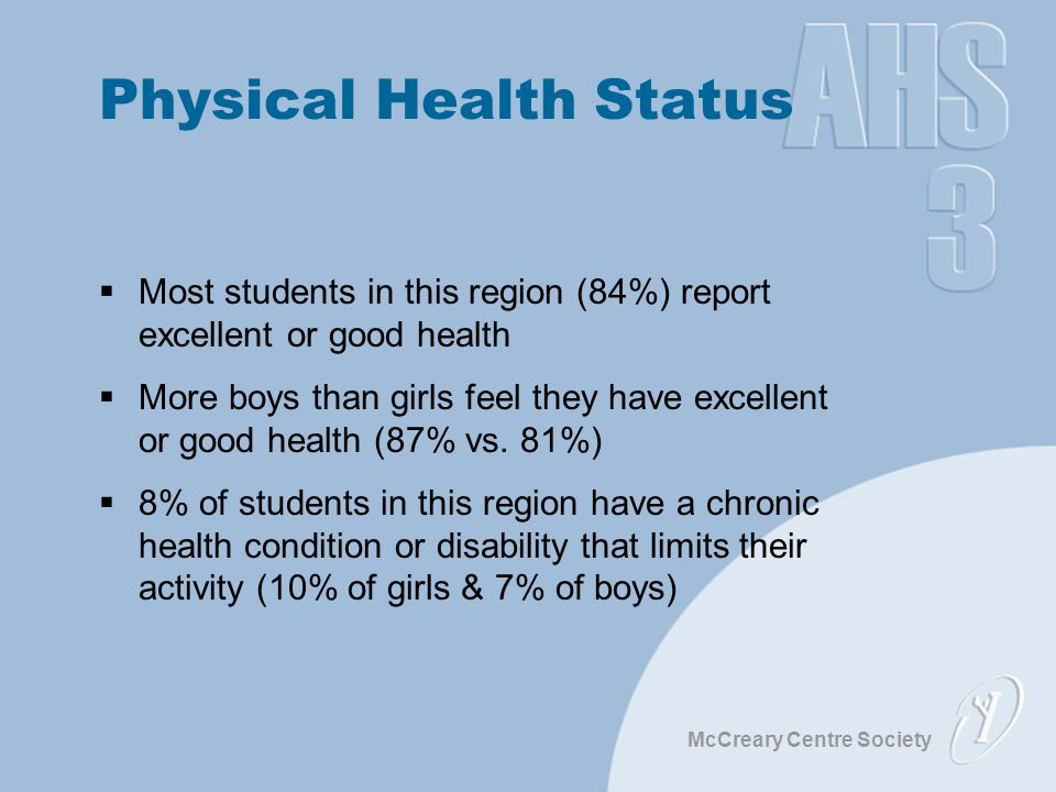 McCreary Centre Society Physical Health Status  Most students in this region (84%) report excellent or good health  More boys than girls feel they h