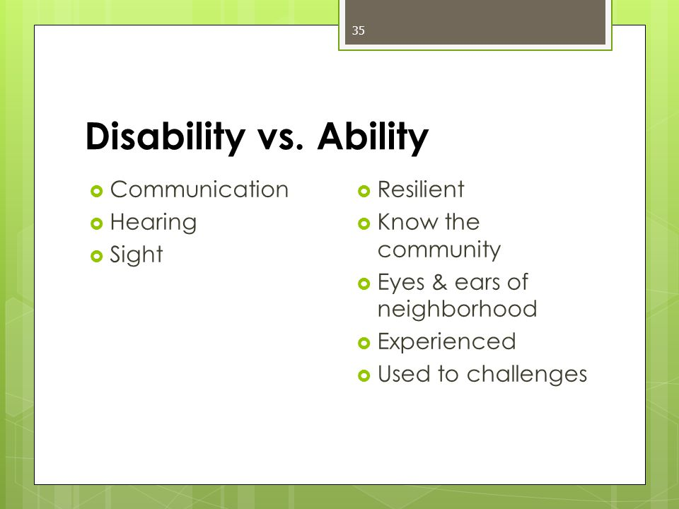 Disability vs.