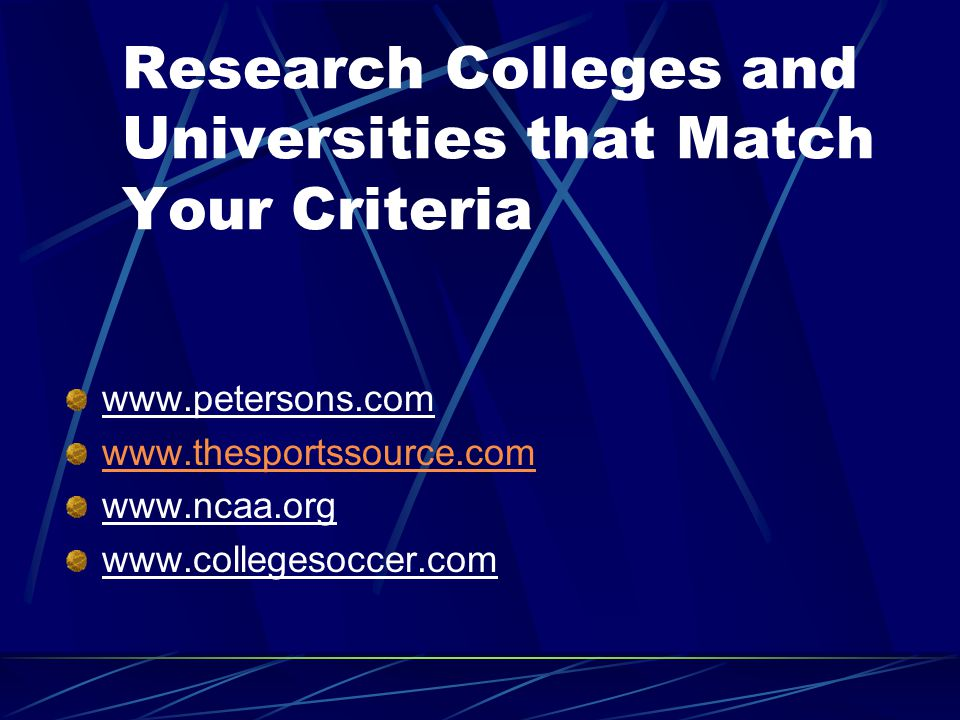Your Initial Choices Five to Ten Initial Choices Based on Your College Identification Criteria