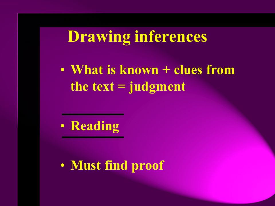 Drawing inferences What is known + clues from the text = judgment Reading Must find proof