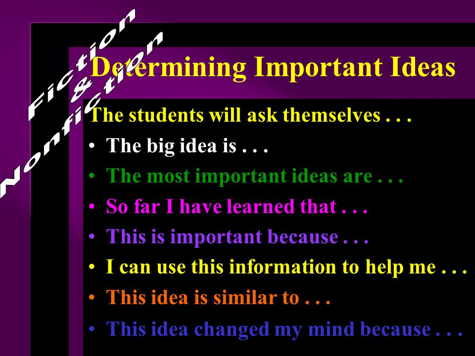 Determining Important Ideas The students will ask themselves...